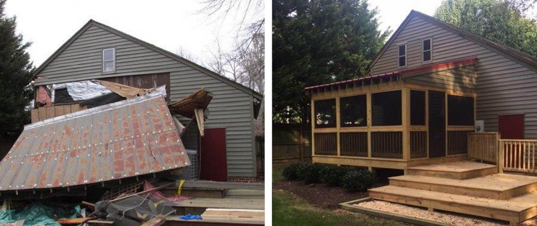 Storm damage restoration services