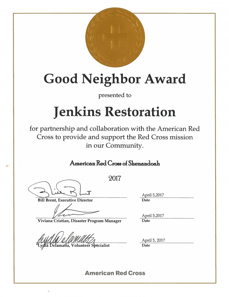Jenkins given Good Neighbor Award from the Red Cross
