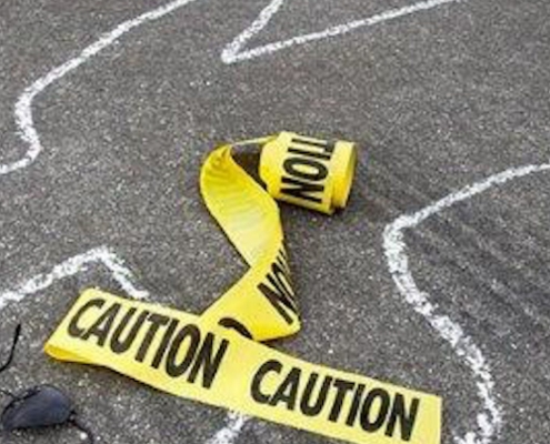 chalk outline surrounded by caution tape