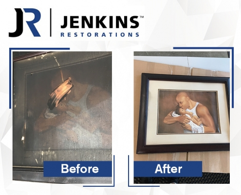 refinished picture and frame hang on refinished wall
