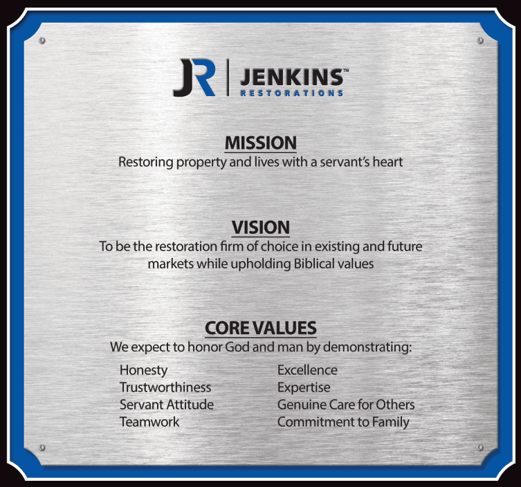 Jenkins Restorations Mission, Vision, and Core Values