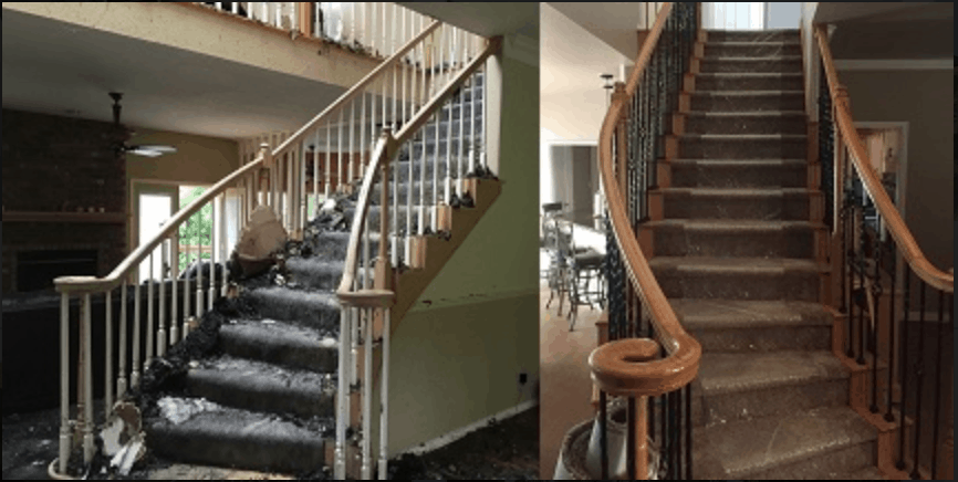 Stairwell Restoration from Fire Damage