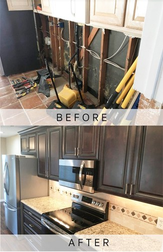 Dallas kitchen water damage before and after
