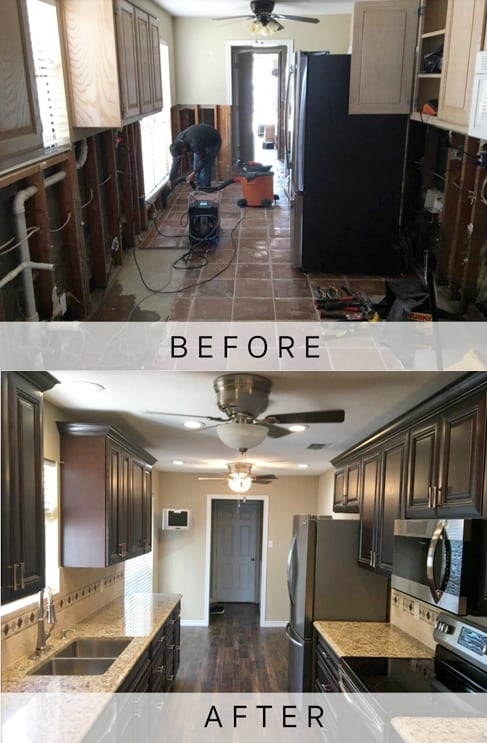 Dallas water damage before and after